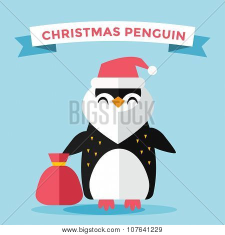 Cartoon penguin character vector illustration. Cartoon funny penguin santa or christmas hero. Penguin christmas, new year, gifts, christmas hat, santa penguin. Cartoon penguin vector illustration
