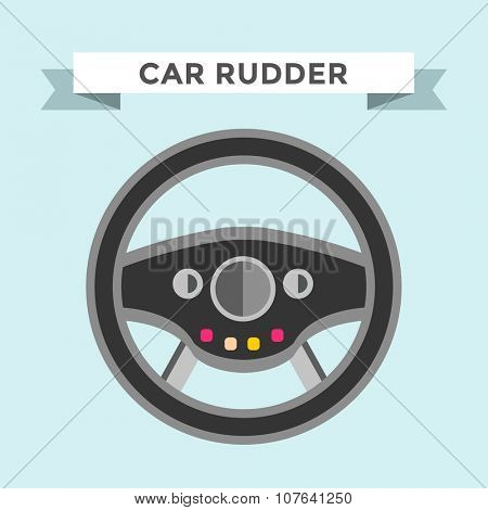 Vector rudder flat icon. Rudder wheel illustration. Car wheel control rudder vector icon. Rudders cars, wheel, round, control, track, sport. Rudder icon. Wheel icon. Rudder and wheel isolated