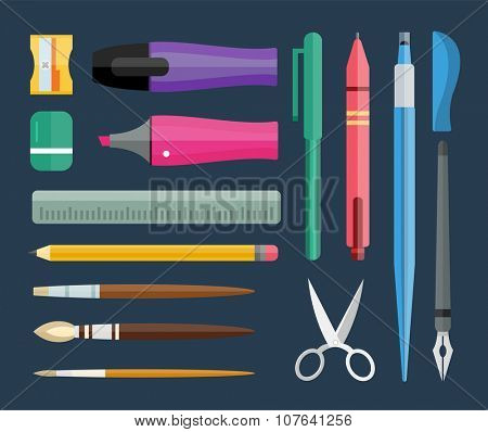 Flat stationery and drawing tools, pen set. Paintbrushes, felt-tip, pencil and marker highlighter collection. Pens vector set. School pens and tools. Artistic tools and brushes