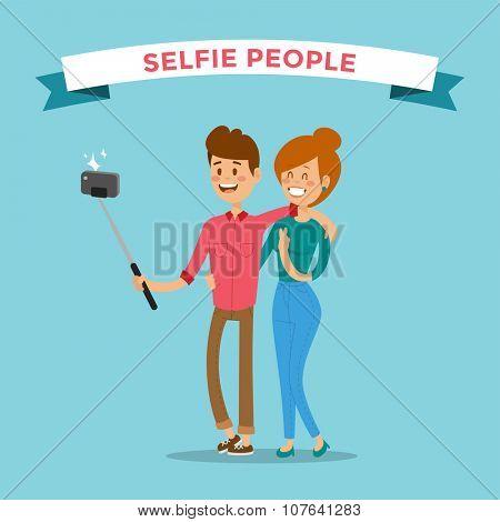 Selfie family couple portreit vector illustration. Selfie shot man, woman together Vector selfie people set. Selfie vector concept modern family couple with selfie photo camera. People couple