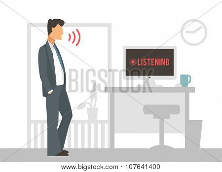 Voice control vector illustration. Smart computer voice control with human voice. Smart phone, smart house, modern computer technology. Voice control command background. Voice control icon
