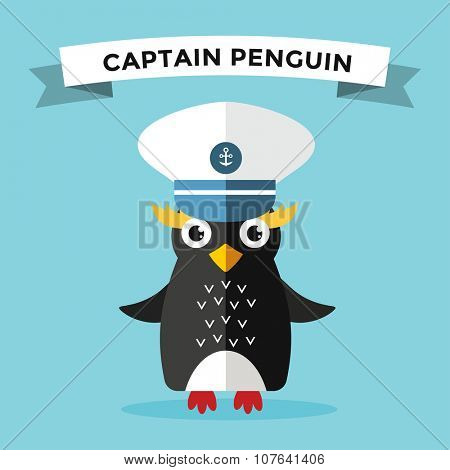 Cartoon penguin character vector illustration. Cartoon funny penguin sailor or captian. Penguin captain, sailor, captain hat, sailor penguin. Cartoon penguin vector illustration. Penguin vector