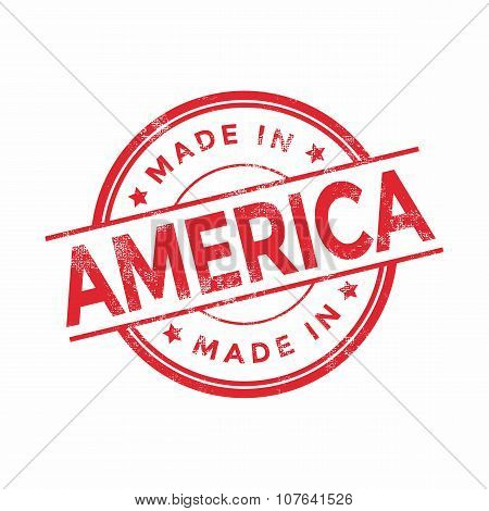 Made in America red vector graphic. Round rubber stamp isolated on white background.