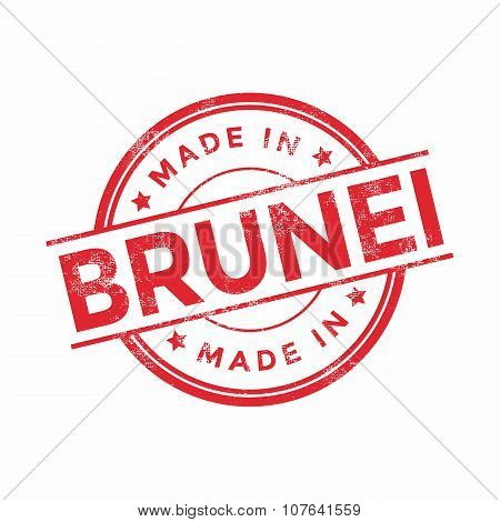 Made in Brunei red vector graphic. Round rubber stamp isolated on white background.
