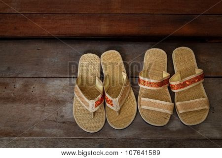 Japanese Sandals In Front Of A Japanese House