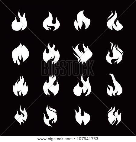 Set Of White Fire Icon