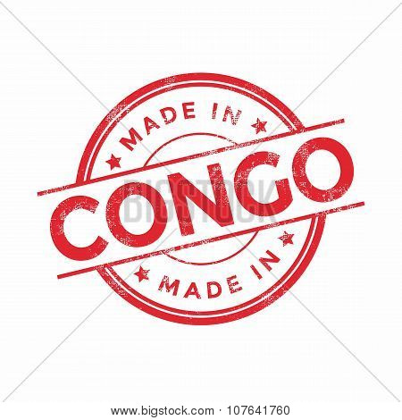 Made in Congo red vector graphic. Round rubber stamp isolated on white background.