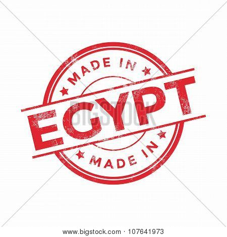 Made in Egypt red vector graphic. Round rubber stamp isolated on white background.