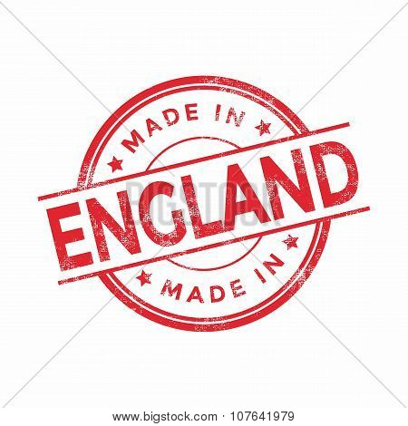 Made in England red vector graphic. Round rubber stamp isolated on white background.