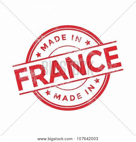 Made in France red vector graphic. Round rubber stamp isolated on white background.
