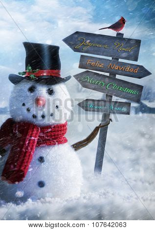 Snowman holding wooden sign with seasons greetings