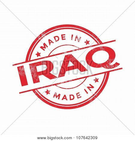 Made in Iraq red vector graphic. Round rubber stamp isolated on white background.