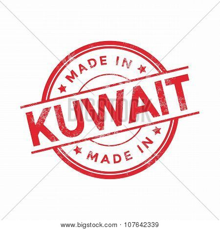 Made in Kuwait red vector graphic. Round rubber stamp isolated on white background.