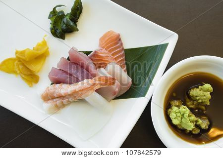 Japanese sashimi with wasabi and pickles