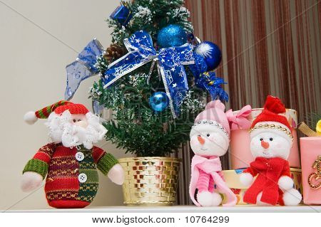 Christmas greeting Santa with gifts