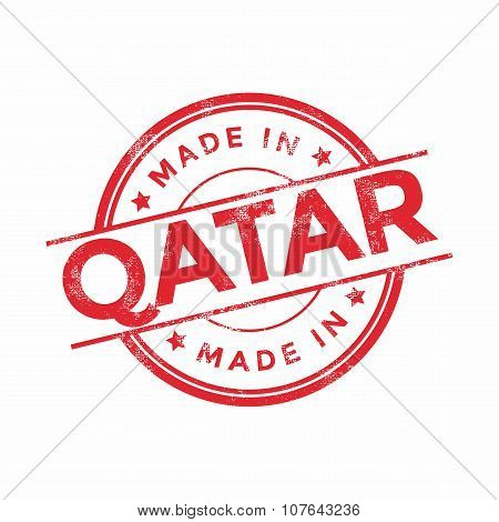 Made in Qatar red vector graphic. Round rubber stamp isolated on white background.
