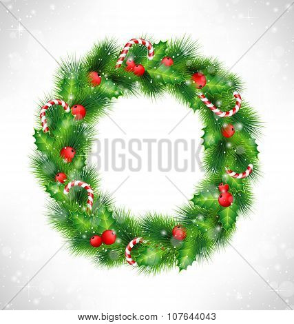 Christmas Wreath On Grayscale