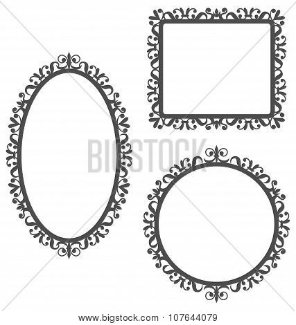 Vintage Frames Isolated On White