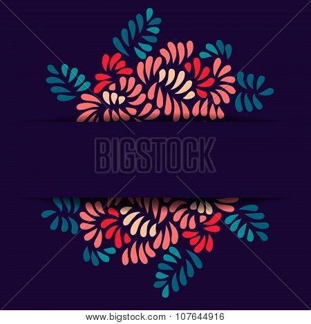 Pastel colored stylized flowers and leaves bouquet card template on dark, vector