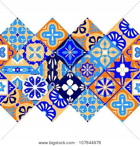 Mexican stylized talavera tiles seamless border in blue orange and white, vector
