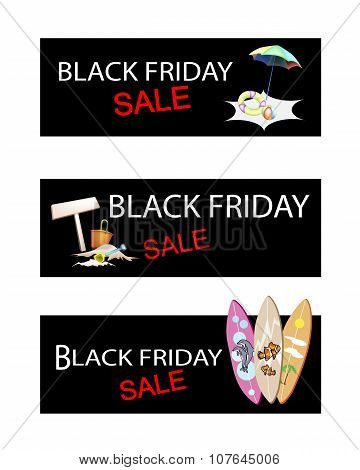 Beach Items On Three Black Friday Sale Banners