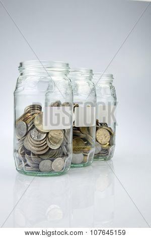 saving jar on the white background