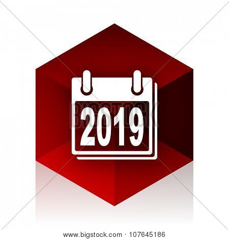 new year 2019 red cube 3d modern design icon on white background