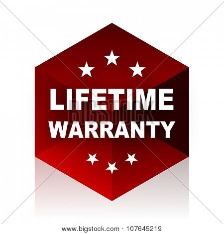 lifetime warranty red cube 3d modern design icon on white background