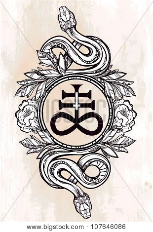 Snake with Satanic cross illustration.