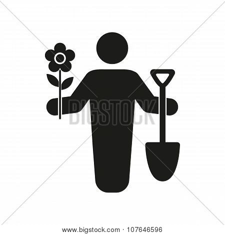 The gardener avatar icon. Gardening and agriculture, garden symbol. Flat
