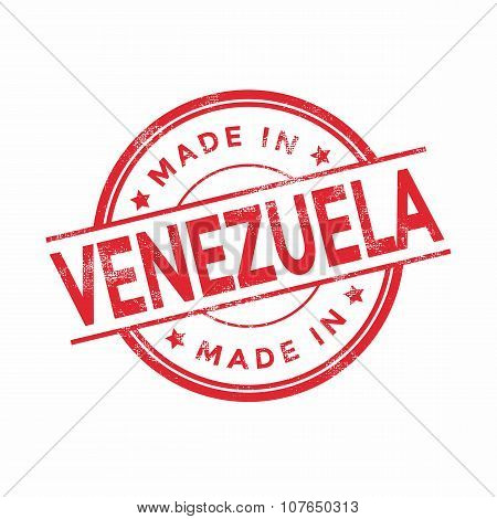 Made in Venezuela red vector graphic. Round rubber stamp isolated on white background.