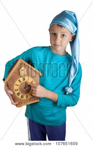 Cute Boy In Sleeping Hat With Clock Isolated On White