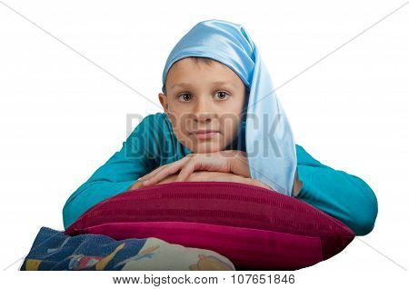 Cute Boy Laying On Pillow Isolated