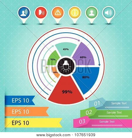 Info graphic chart, icon and pie graph, Vector design template