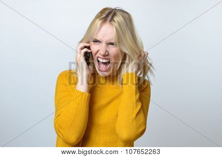 Angry Woman Talking To Someone Over The Phone