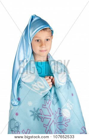 Cute Boy In Blue Sleeping Hat Isolated On White