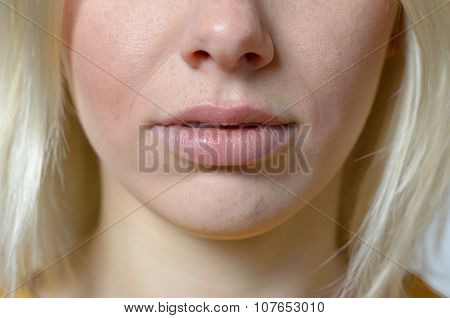 Lips And Nose Of A Young Blond Woman