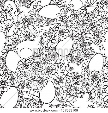 Seamless Floral doodle pattern Happy Easter.