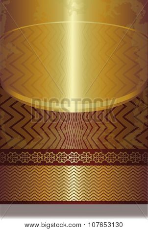 Golden Seamless Geometrical Pattern On Dark Red Background