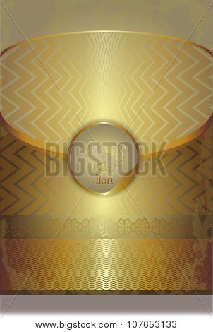 Golden Leaflet Paper With A Lion Silhouette, Logo Eps10