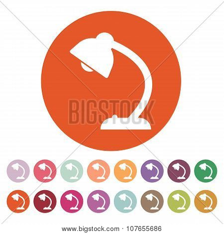 The table lamp icon. Reading-lamp and lighting, illumination, light symbol. Flat
