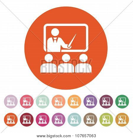 The training icon. Teacher and learner, classroom, presentation, conference, lesson, seminar, educat
