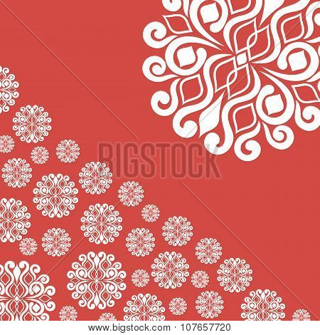 Abstract Illustration With Snowflakes On Red Background