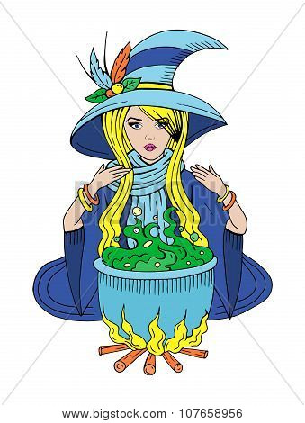 Witch Preparing Potion In Pot, Hand Drawn Colorful Vector Illustration of Cute Witch Girl