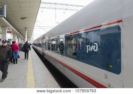 MOSCOW, RUSSIA -01.11.2015. High-speed train at Kursky station