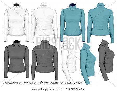 Women's turtleneck design templates (front, back and side views). Vector illustration
