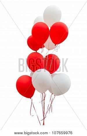 Red Balloons Isolated On White Background With Clipping Path.