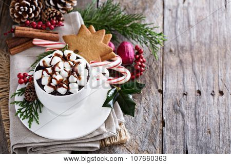 Christmas hot chocolate with ornaments
