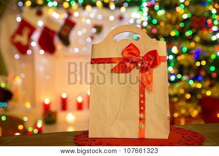 Paper Bag Christmas Lights, Xmas Gift Package, Red Bow
