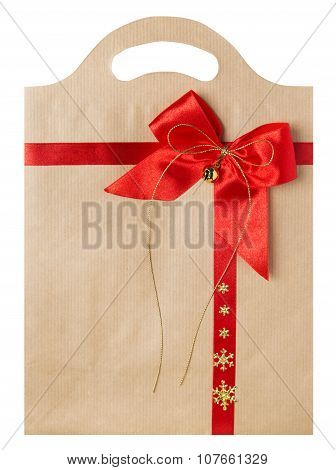 Paper Bag With Red Bow, Christmas Decorated Gift Package Bags